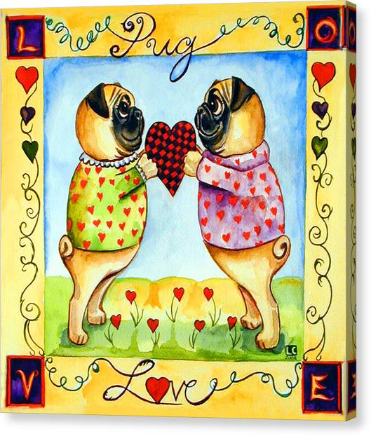 Pugs Canvas Print - Pug Love by Lyn Cook