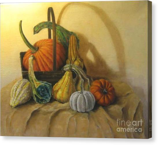 Pumpkin In A Basket Canvas Print