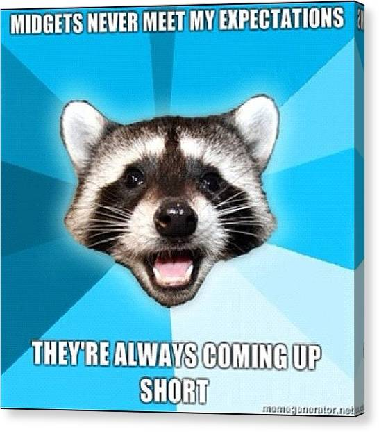 Raccoons Canvas Print - #pun #raccoon #midgets #short by Jared Colbert