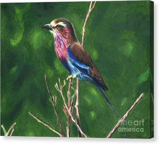 Purple And Blue Bird Canvas Print