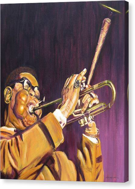 Purple And Gold Dizzy Gillespie Canvas Print