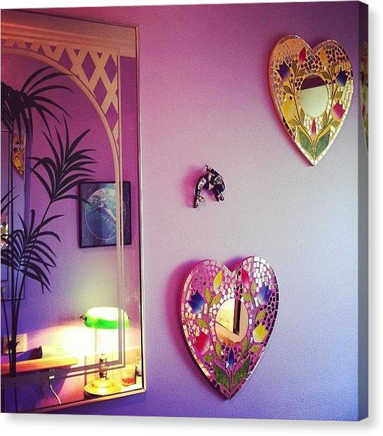 Dolphins Canvas Print - Purple Bathroom by Rhiannon Lea