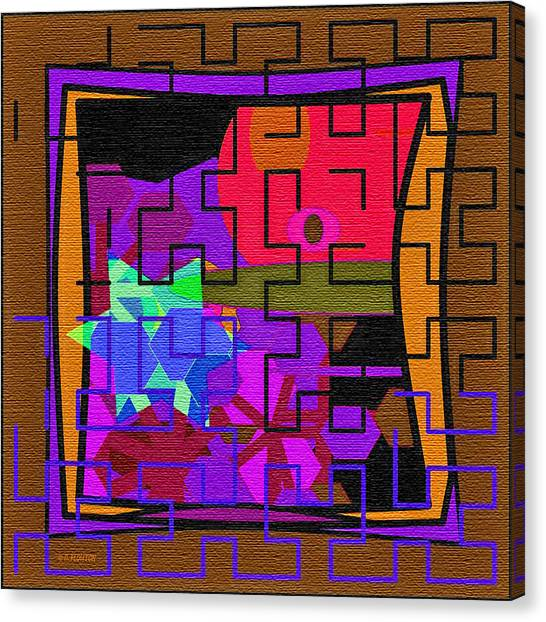 Canvas Print featuring the digital art Purple Brown Maze by Dee Flouton