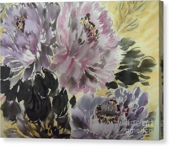 Purple Dark Peony Canvas Print
