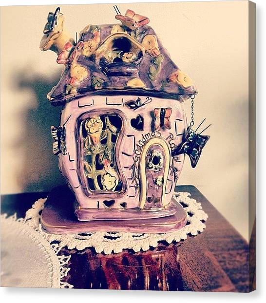 Grandma Canvas Print - #purple #tea #house #teahouse #ceramic by Logan Mcpherson