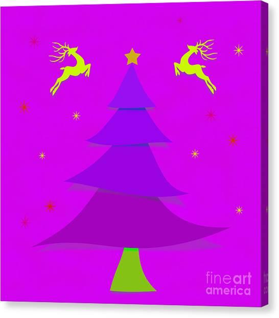 Mistletoe Canvas Print - Purple X'mas by Atiketta Sangasaeng