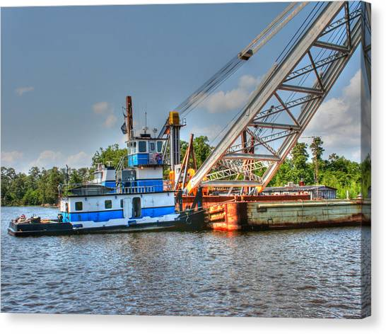 Push Boat And Barge Canvas Print by Barry Jones