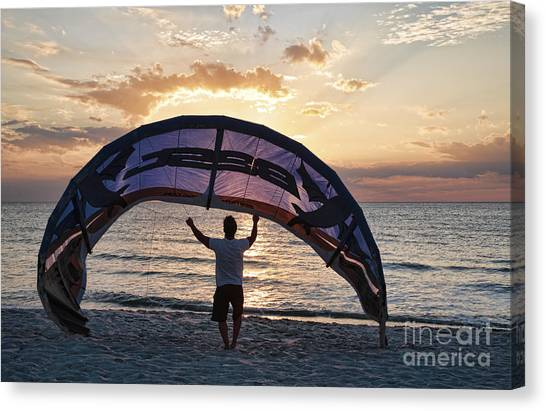 Putting Away The Kite At Clam Pass At Naples Florida Canvas Print