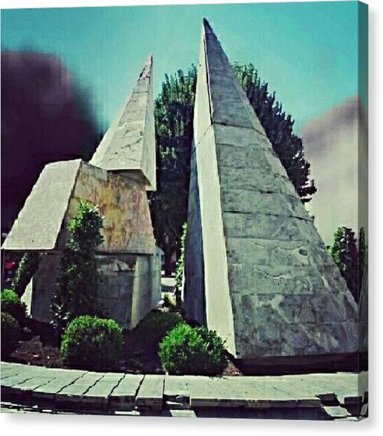 Art Nouveau Canvas Print - #pyramide #statue #pamiers #art by Zoltan Toth