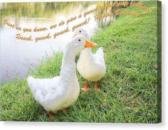 Quacker Birthday Canvas Print
