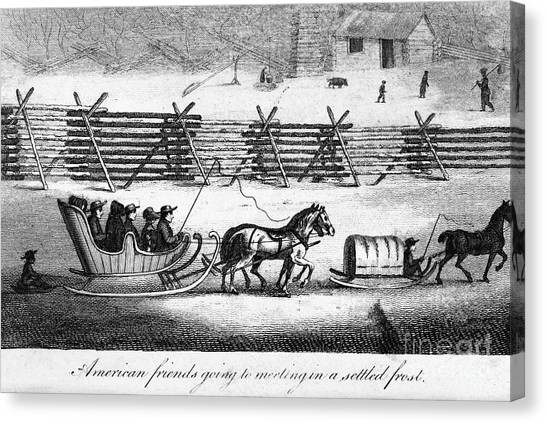 Sleds Canvas Print - Quakers Going To Meeting by Granger