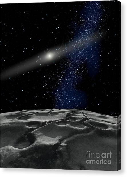 Planetoid Canvas Print - Quaoar Is A Large Kuiper Belt Object by Ron Miller