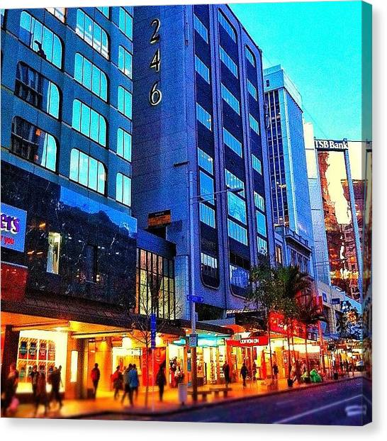 Yachts Canvas Print - Queen Street. Auckland. New Zealand by Evgeny Poliganov