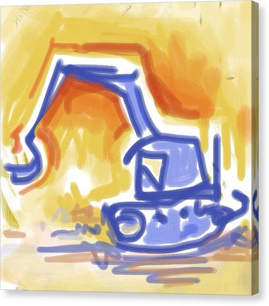 Equipment Canvas Print - #quick #sketch Of An #excavator by Jeff Reinhardt