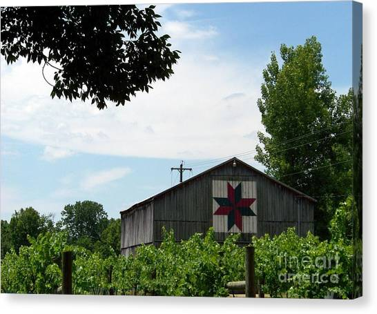 Quilted Barn And Vineyard Canvas Print