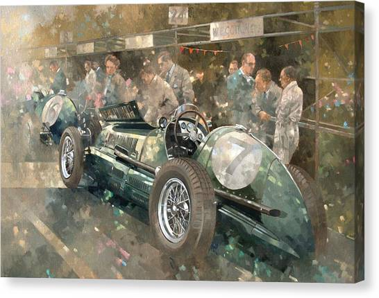 Racecar Drivers Canvas Print - R. Parnell's Maserati  by Peter Miller