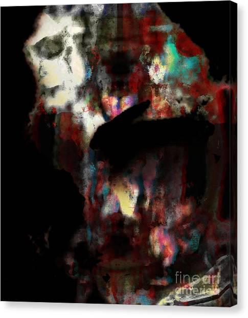 Rabbit With Human Head Canvas Print by Diane Falk