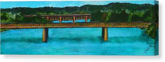 Railroad Bridge At Lady Bird Lake Austin Texas Canvas Print