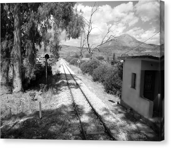 Railroad Crossing In Black And White On The Way From Mycenae To Olympia In Greece Canvas Print