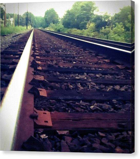 Maryland Canvas Print - Railroad Tracks Almost Vanishing In by Charles Dowdy