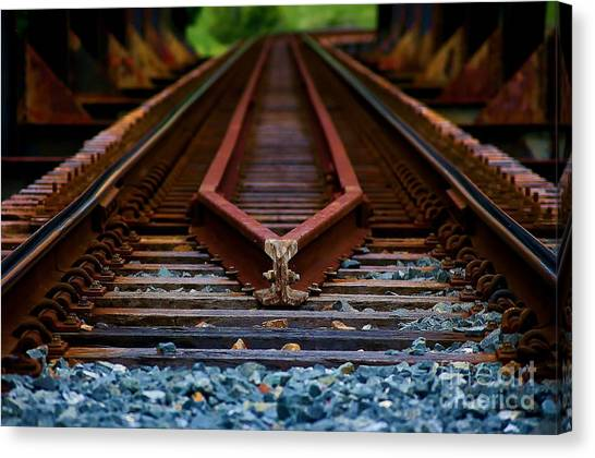 Railway Track Leading To Where Canvas Print