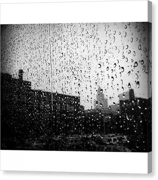 Rain Canvas Print - #rain #raindrops #window #toronto by Torbjorn Schei