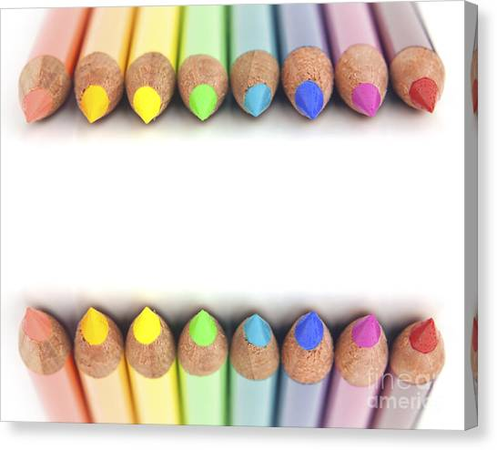 Elementary School Canvas Print - Rainbow Colored Pencils by Blink Images
