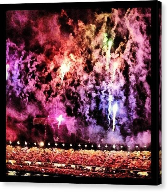 Fireworks Canvas Print - Rainbow Fireworks by Rebecca Shinners