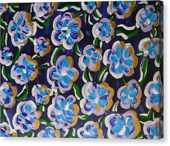Rainbow Flowers Indaco Canvas Print
