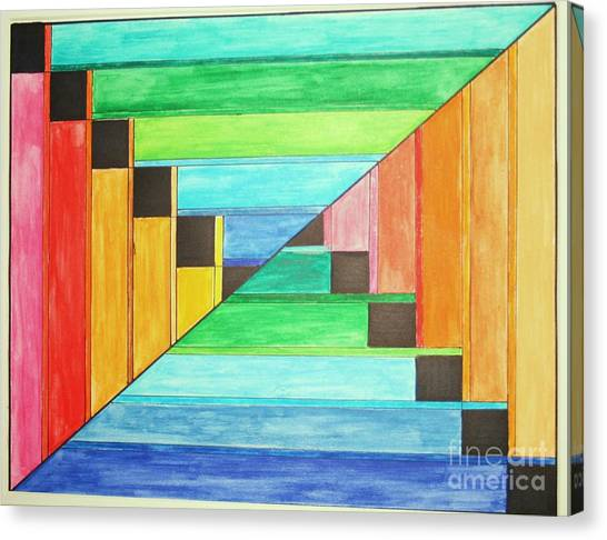 Rainbow In Line Canvas Print
