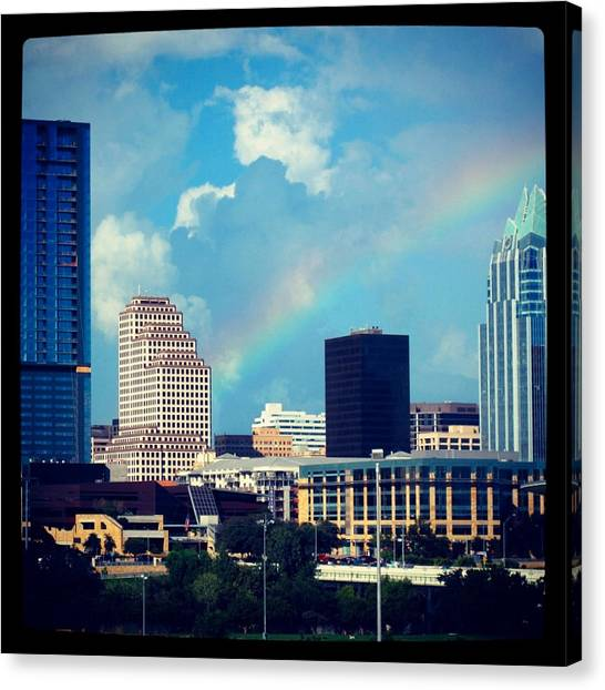 Austin Skyline Canvas Print - Rainbow Over Austin Skyline by Pauline Walsh Jacobson