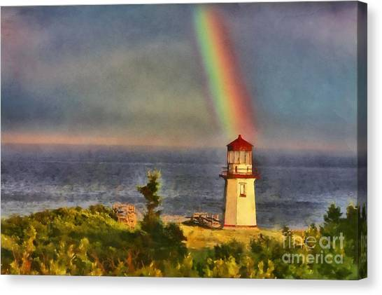Rainbow Over The Lighthouse In Perce Quebec Canvas Print