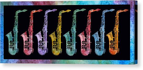 Marching Band Canvas Print - Rainbow Saxophones  by Jenny Armitage