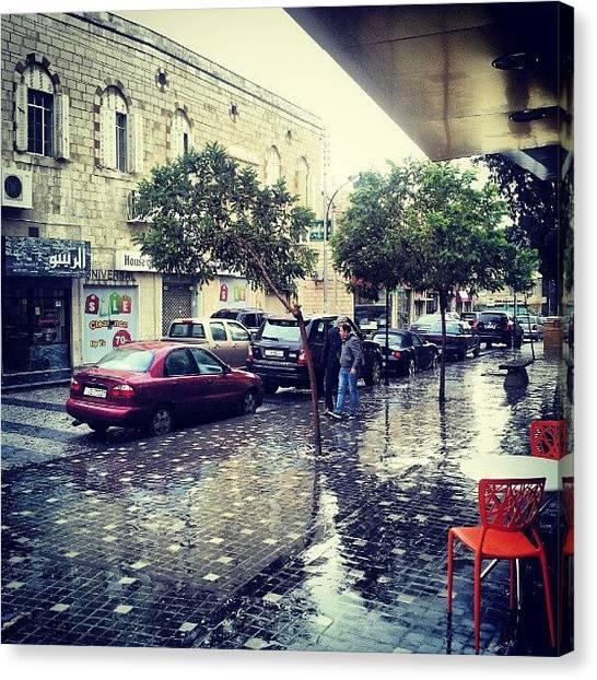 Rain Canvas Print - Rainbow Street #amman #jo #jordan by Abdelrahman Alawwad