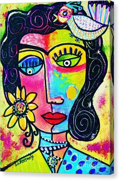 Rainbow Sunshine Frida Canvas Print