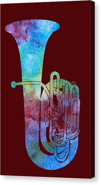 Tuba Canvas Print - Rainbow Tuba by Jenny Armitage