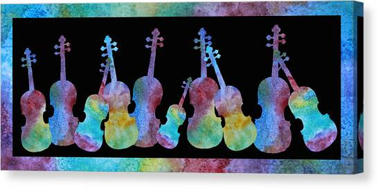 Fiddling Canvas Print - Rainbow Washed Violins by Jenny Armitage