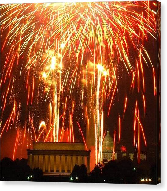 Fireworks Canvas Print - Raining Fire...last Night's Finale (or by Loren Southard
