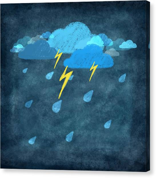 Rain Canvas Print - Rainy Day With Storm And Thunder by Setsiri Silapasuwanchai