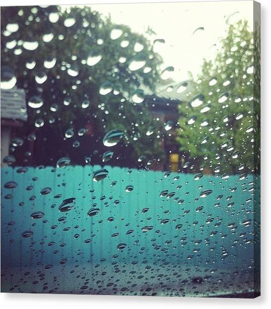 Turquoise Canvas Print - Rainy Windshield by Brittany Severn