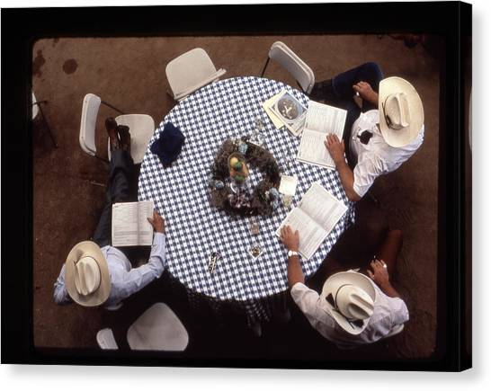 Ranchers At The Round Table Canvas Print