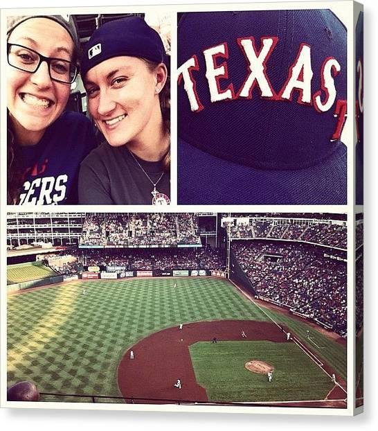 Texas Rangers Canvas Print - Rangers Game! :) by Hollyan Trainer