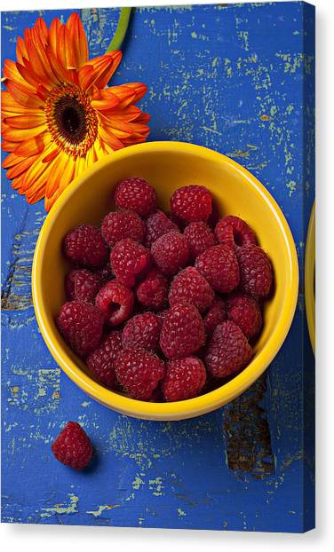Raspberries Canvas Print - Raspberries In Yellow Bowl by Garry Gay