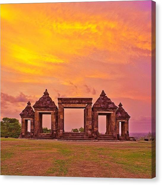 Beach Sunsets Canvas Print - Ratu Boko Is An Archaeological Site by Tommy Tjahjono