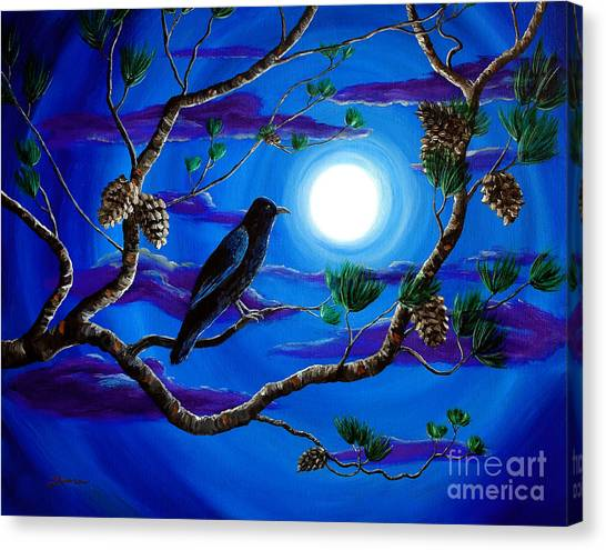 Full Moon Canvas Print - Raven In Pine Tree Branches by Laura Iverson