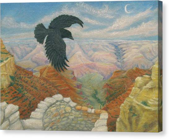 Raven Over The South Rim  Canvas Print by Marcia  Perry
