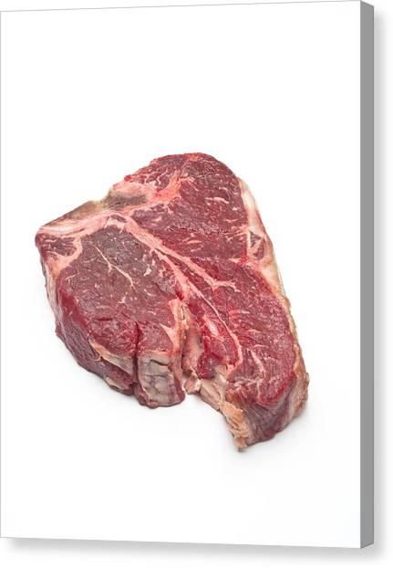 Steak Canvas Print - Raw T-bone Steak by David Nunuk