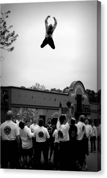 Trampoline Canvas Print - Reaching For The Sky In Black And White by Tam Graff