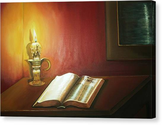Reading By Candlelight Canvas Print