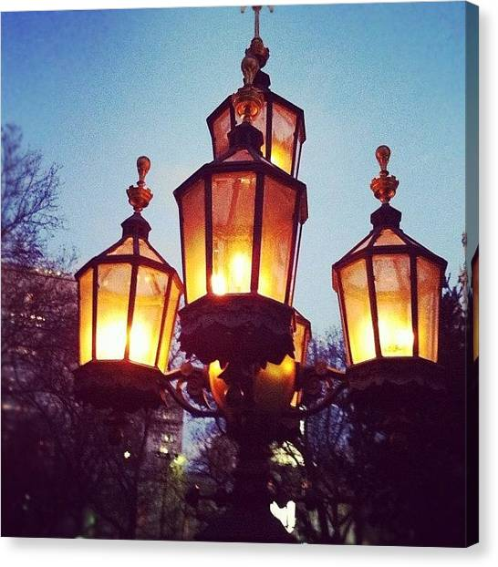 Mars Canvas Print - Real Gas Lamps Down By City Hall by Deirdre Mars